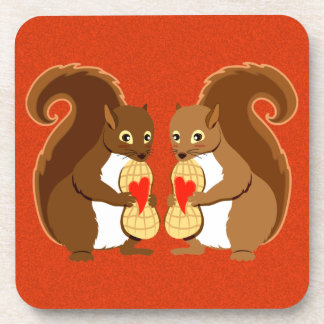Valentine squirrels drink coaster