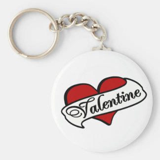Valentine Tattoo With Heart & Banner Basic Round Button Key Ring