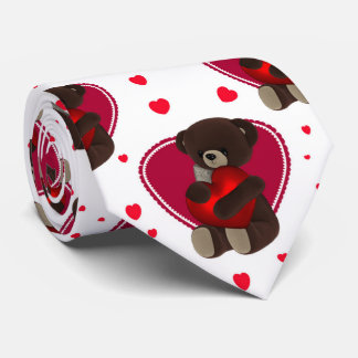 Valentine Teddy Bear And Hearts, Tie
