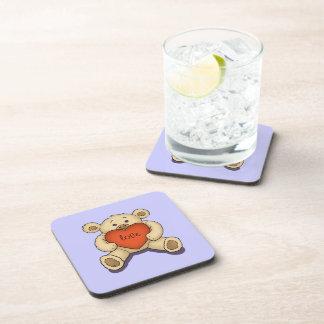 valentine teddy bear beverage coaster