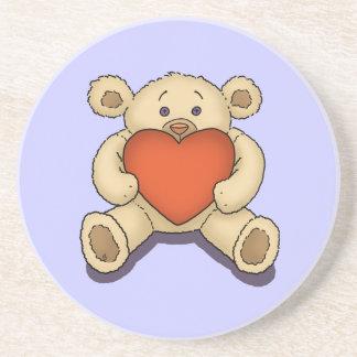 valentine teddy bear drink coasters