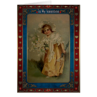 Valentine. Vintage girl with a bouquet of flowers. Card