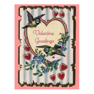 Valentine w/ birds postcard
