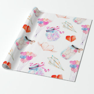 Valentine watercolor icons pattern wrapping paper