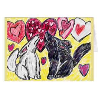 Valentine wolf howling card