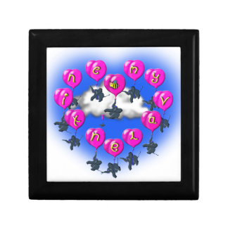 valentines baloons with elephants gift box