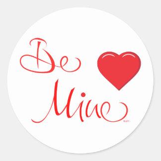 Valentines-Be-Mine-with Red Heart Round Sticker