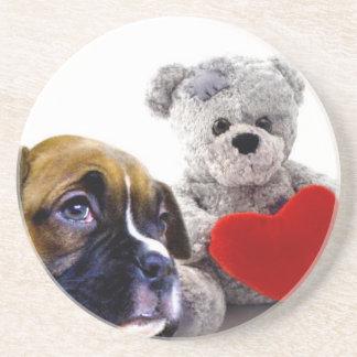 Valentine's boxer puppy beverage coaster