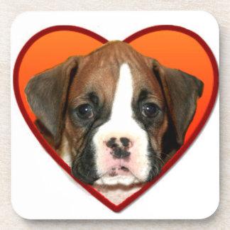 Valentine's boxer puppy drink coaster