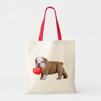 Valentine's bulldog puppy bag