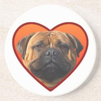 Valentine's bullmastiff dog beverage coaster