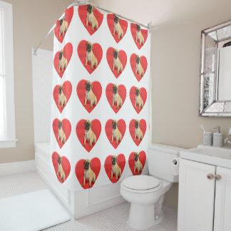 Valentine's bullmastiff dog shower curtain