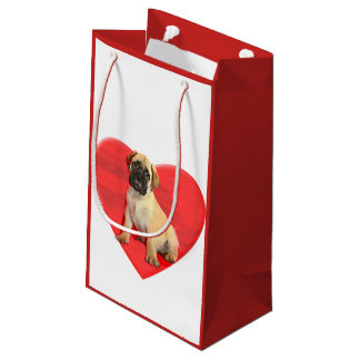 Valentines bullmastiff dog small Gift Bag
