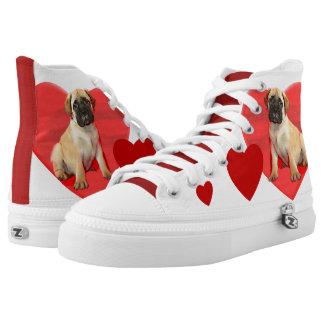 Valentine's Bullmastiff puppy tennis shoes