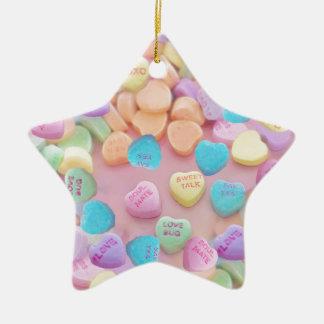 valentines candy hearts ceramic ornament