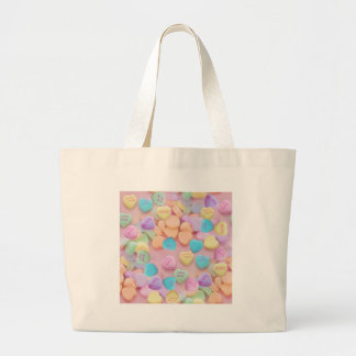 valentines candy hearts large tote bag