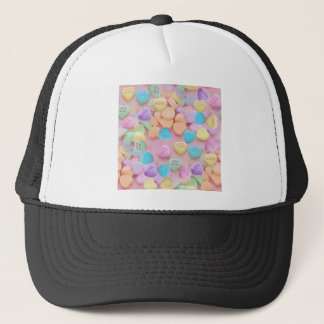 valentines candy hearts trucker hat
