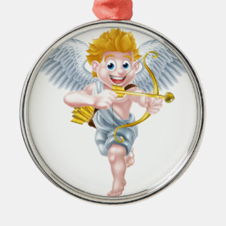Valentines Cupid Angel Silver-Colored Round Decoration
