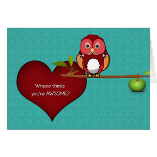 Valentine's Cute Owl on a Branch Card