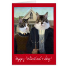 Valentines Day American Gothic funny Cat Card