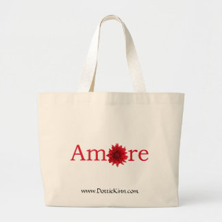 """Valentine's Day """"Amore"""" with red daisy Jumbo Tote Bag"""