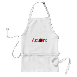 "Valentine's Day ""Amore"" with red daisy Standard Apron"