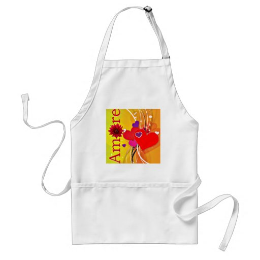 "Valentine's Day ""Amore"" with Red Hearts Aprons"