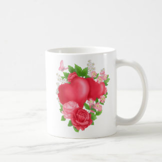Valentine's Day Beautiful Poem Hearts and Roses Coffee Mug