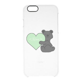 Valentine's Day Black Bear with Light Green Heart Clear iPhone 6/6S Case