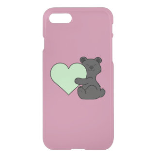 Valentine's Day Black Bear with Light Green Heart iPhone 7 Case