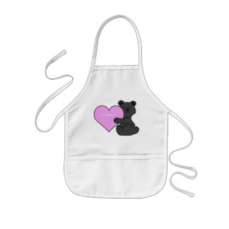 Valentine's Day Black Bear with Light Pink Heart Kids Apron