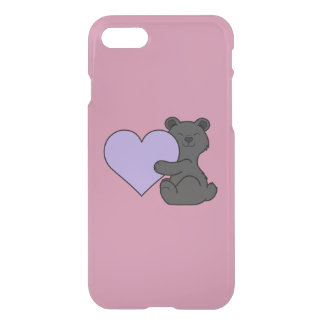 Valentine's Day Black Bear with Light Purple Heart iPhone 7 Case