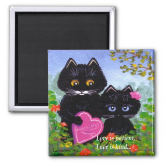 Valentine's Day Black Cat Hearts Creationarts Square Magnet