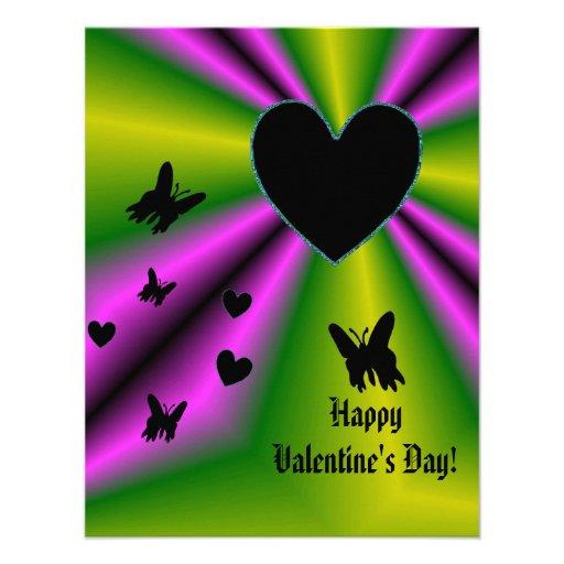 Valentine's Day - Black Heart on Rainbow Custom Announcements
