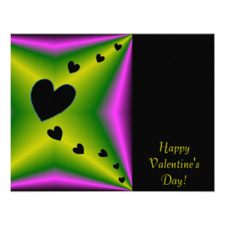 Valentine's Day - Black Heart on Rainbow Personalized Announcement