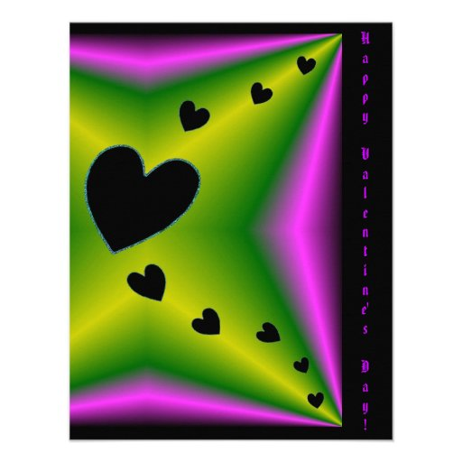 Valentine's Day - Black Heart on Rainbow Invite