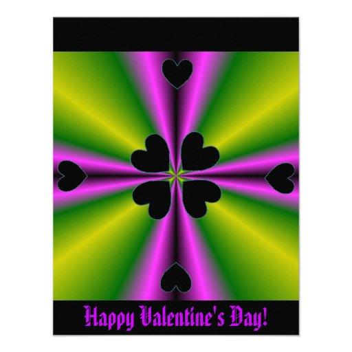 Valentine's Day - Black Heart on Rainbow Custom Invitation
