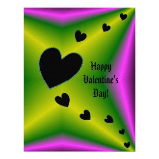 Valentine's Day - Black Heart on Rainbow Custom Announcement