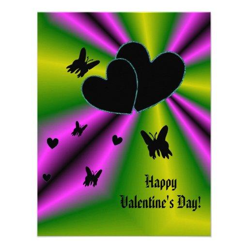 Valentine's Day - Black Heart on Rainbow Personalized Invite