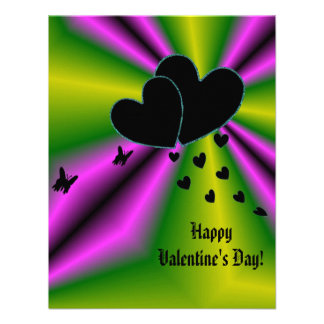 Valentine's Day - Black Heart on Rainbow Invites