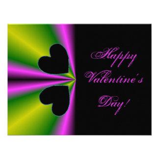 Valentine's Day - Black Heart on Rainbow Personalized Invites