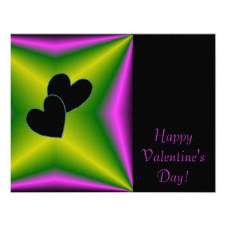 Valentine's Day - Black Heart on Rainbow Announcements