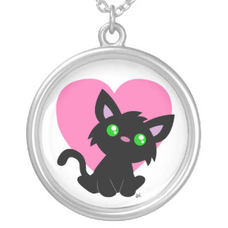 Valentine's Day Black Kitty Necklace