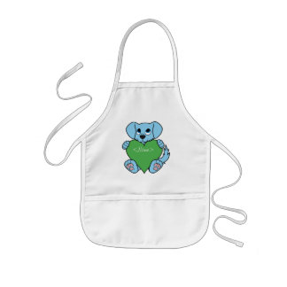 Valentine's Day Blue Dog with Green Heart Kids Apron