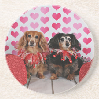 Valentine's Day - Brooklyn & Mandy - Dachshunds Beverage Coasters