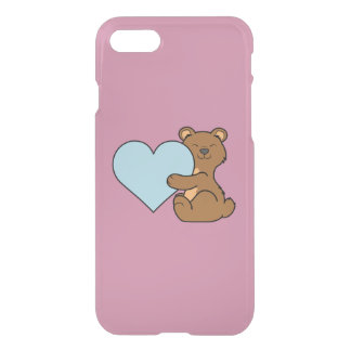 Valentine's Day Brown Bear with Light Blue Heart iPhone 7 Case