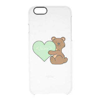 Valentine's Day Brown Bear with Light Green Heart Clear iPhone 6/6S Case