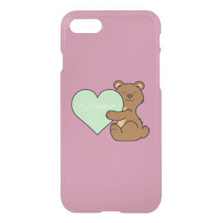 Valentine's Day Brown Bear with Light Green Heart iPhone 7 Case