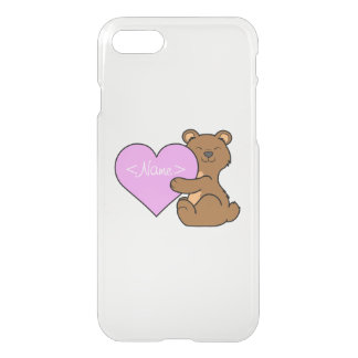 Valentine's Day Brown Bear with Light Pink Heart iPhone 7 Case