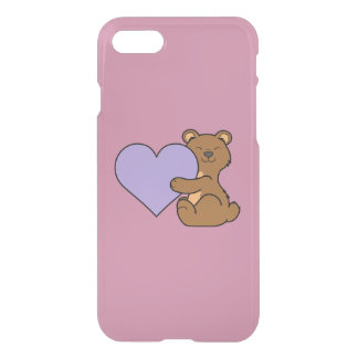 Valentine's Day Brown Bear with Light Purple Heart iPhone 7 Case